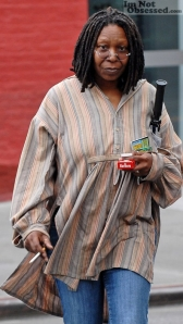 Whoopie Goldberg with scratch-off tickets